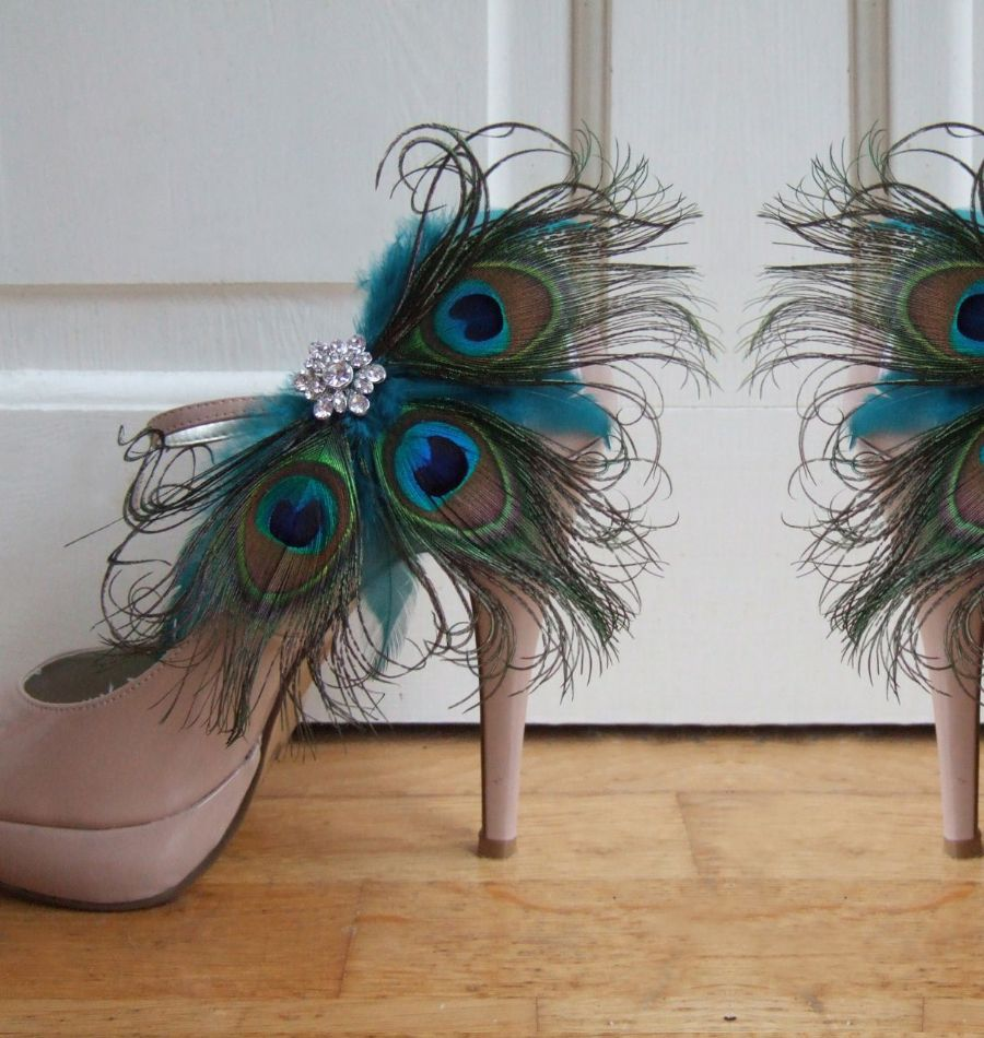 "Bridal / Prom Teal Peacock Feathers ""Shannon"" Crystal Shoe Clips SCP2501"